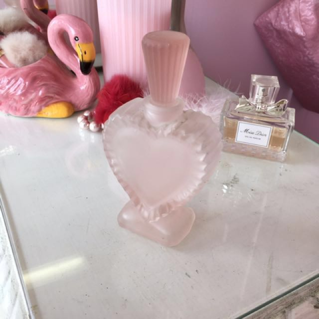 Pink frosted heart bottle vintage perfume
