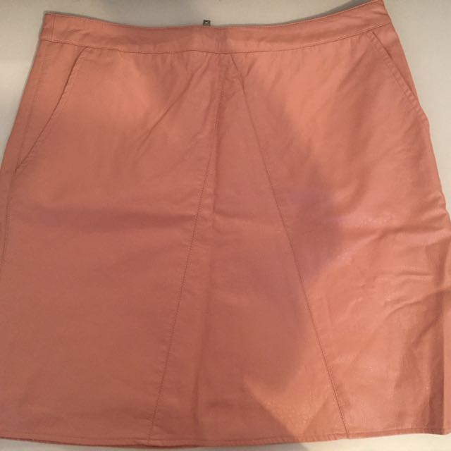 Pink leather skirt