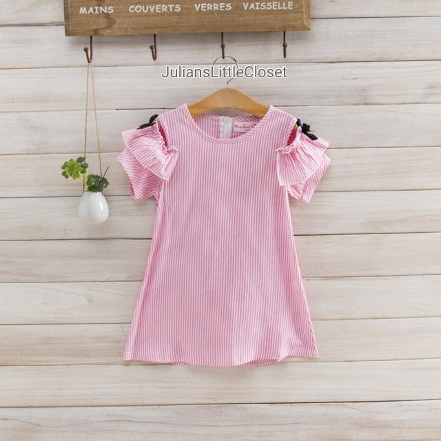 Pink Stripe Cold Shoulder with Black Ribbon