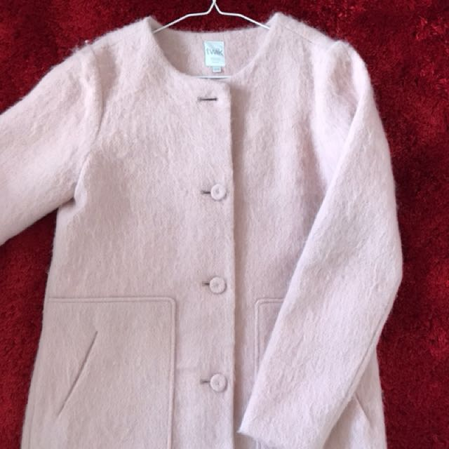Pink wool coat size M
