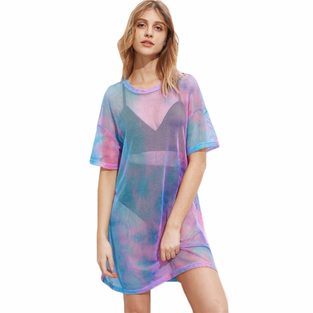 PRE ORDER Holographic Tie Dye Sheer Oversized Shirt