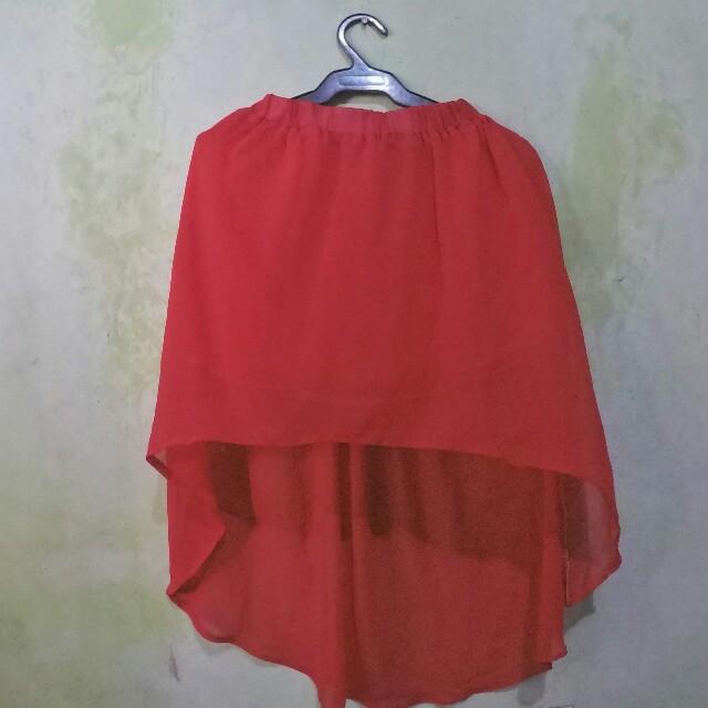 Red Long Back Skirt