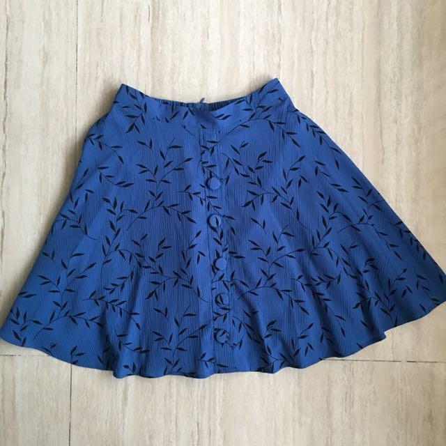 Rok Biru leaves blue a line skirt
