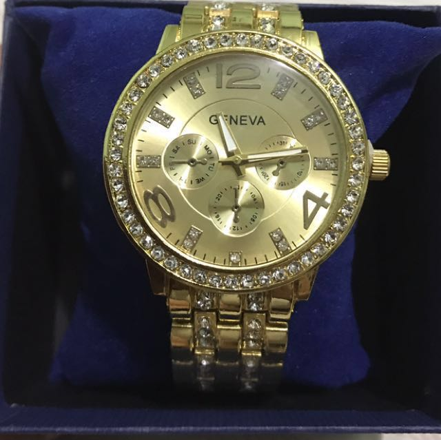 SALE! Geneva Women's Stainless Steel Strap Watch - Gold