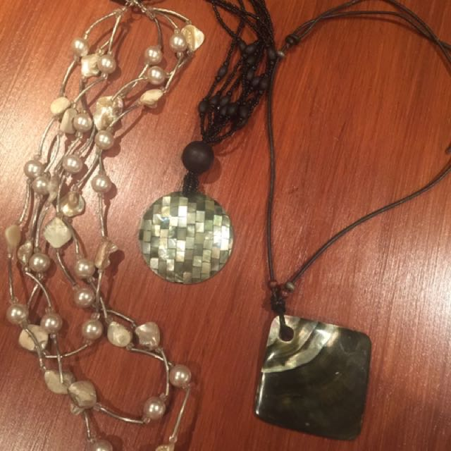 Shell/Pearl Necklaces - lot of 3