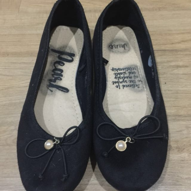 Solemate Black Flats with Pearl