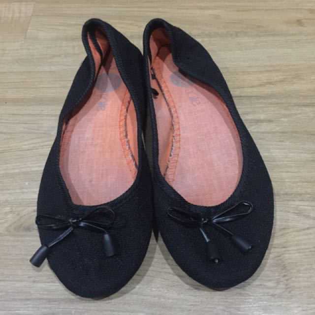 Solemate Black Flats with Ribbon