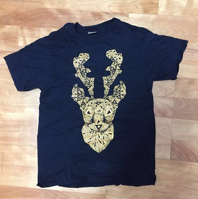 Stack 鹿頭圖案 黑 短袖 T恤 7成新