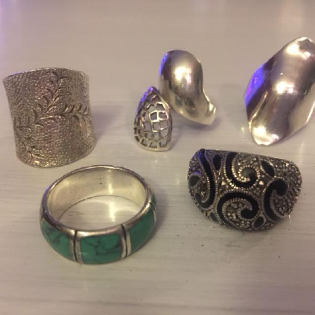 Sterling Silver Rings - bulk lot of 5