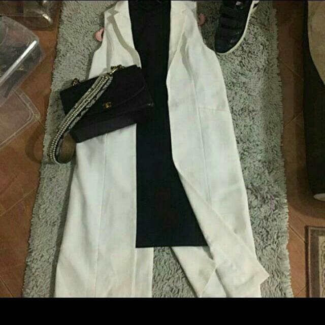 stradivarius white long vest