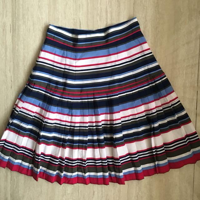 Striped Pleated Skirt Rok lipit