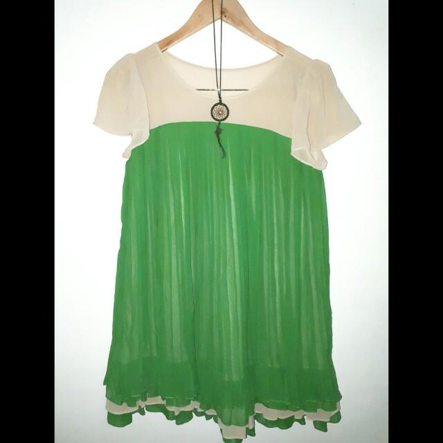 Tan and green Semi dress