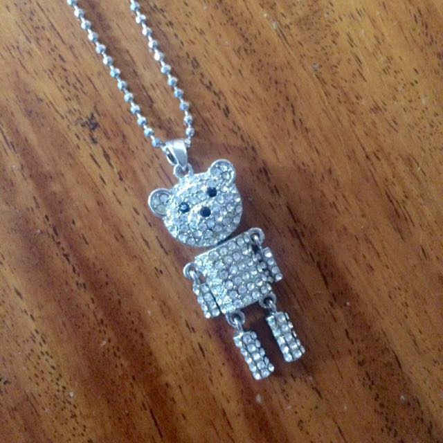 Tiffany & Co. Inspired Robot Teddy Bear Crystal Necklace