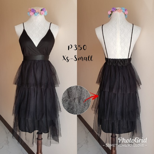 Tulle layered black backless dress