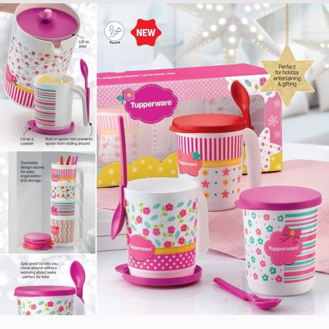 Tupperware Blushing Pink Mug and Pitcher Christmas Set, Home Appliances on Carousell