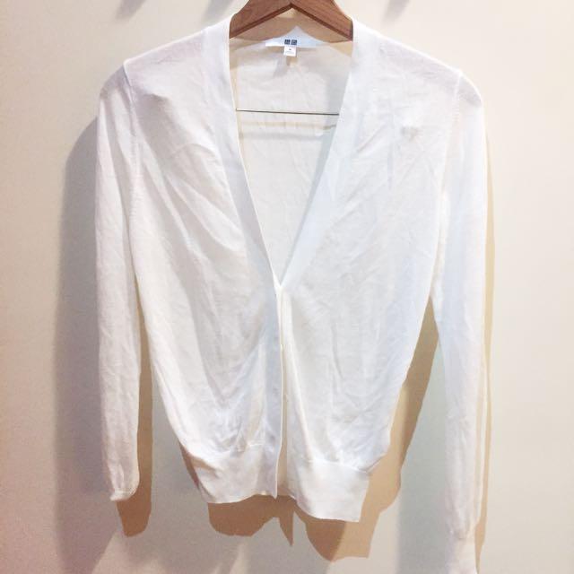 UNIQLO 米白針織罩衫/外套