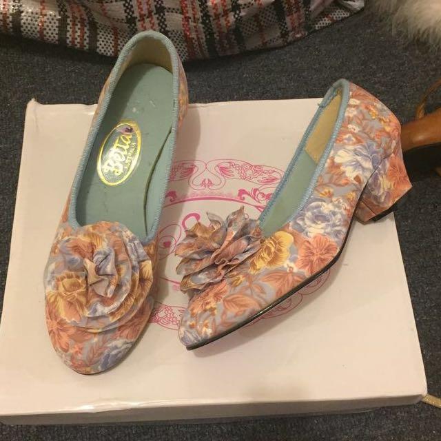 Vintage Rosette 40s Heels Boudoir Shoes