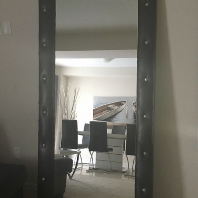 Wall Mirror Black Leather wt Crystals