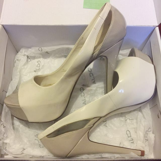 white & nude heels • Aldo