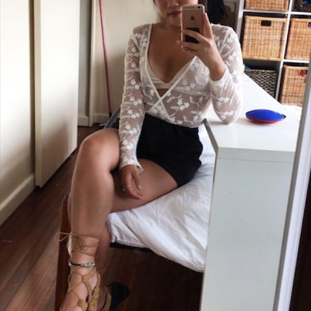 White lace body suit size 8
