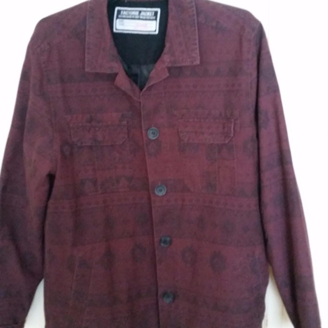 Wine red/ black print Jacket sz.XL