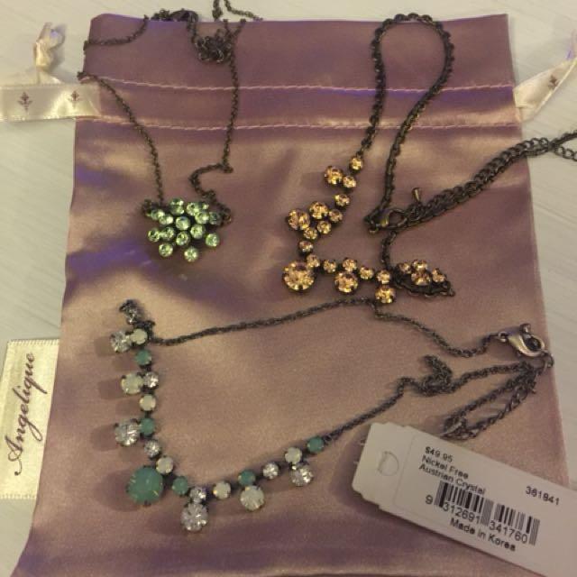 Women's Austrian Crystal Necklaces - Angelique (lot of 3)
