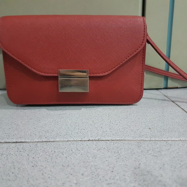 Zara red double wallet
