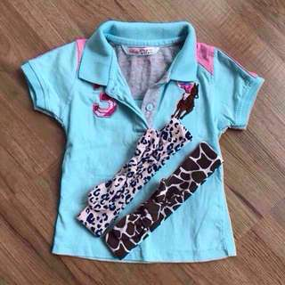 [1 SET] BABY POLO T SHIRT FOR BABY GIRLS [6-12 months] and two headbands!!