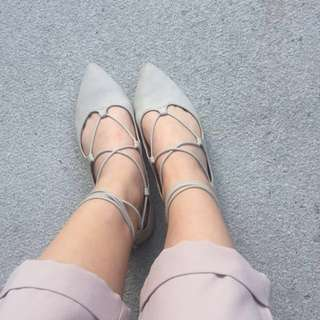 Grey Lace-Up Flats