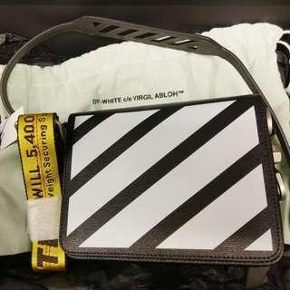 Off-White Diagonal Striped Flap Bag