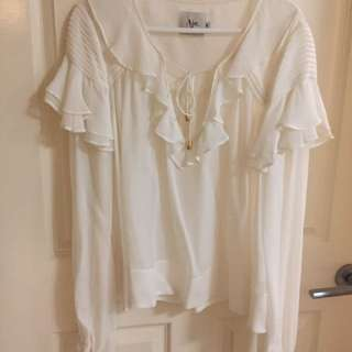 Aje Silk Georgette Frilled Odesa Blouse Size 8