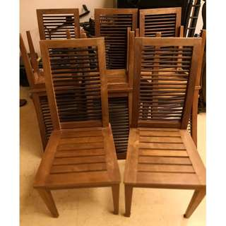 Eight High-Back Teak Mission / Ladder Style Dining Chairs