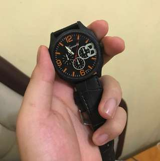 Simple Leather Men's Watch Black import from Singapore