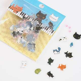 Cartoon Cats on the Piano Stickers Decorative Planner (80 in a pack)
