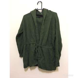 二手 綠色針織連帽長袖外套 罩衫