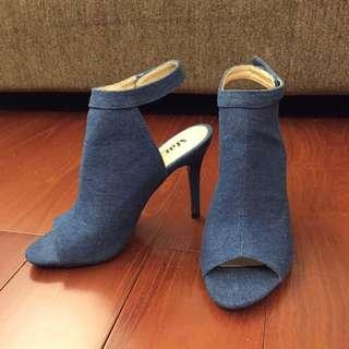 孫芸芸牛仔布魚口細根高跟鞋 性感露趾繞踝高跟鞋