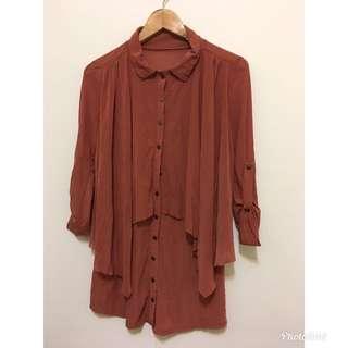 全新 橘紅色 不規則長袖襯衫