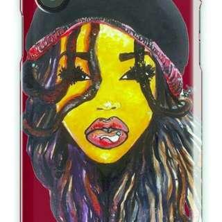 Dreadlocs girl wearing knit cap print iPhone case
