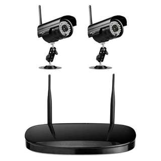 Security Camera + 4CH NVR Set, Support Monitor Detection & IR Night Vision(Black)
