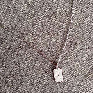 The Lord's Prayer Mini Dog Tag Pendant Silver Tone