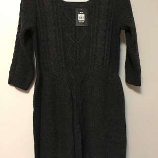NEW 3/4 knit dark grey mini dress
