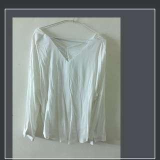 白色 V領 長袖 氣質 上衣