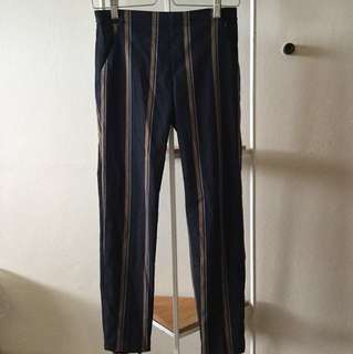 UNIQLO smart style ankle pants - navy gold stripe, size s