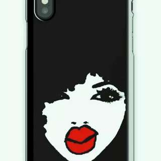 Black afro gray iPhone X white and black case