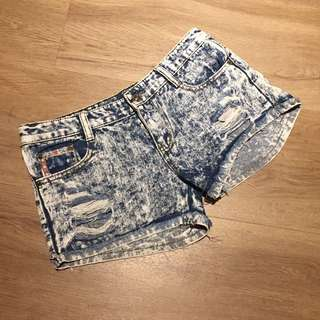 Ripped Jeans Acid Wash Shorts Denim