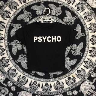 """Black """"psycho"""" crop top, XS-S"""