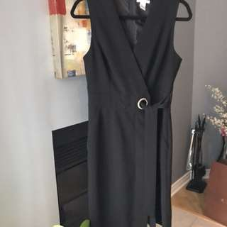 H&M Black Wrap-Around Shift Dress [Size 8] - WORN TWICE
