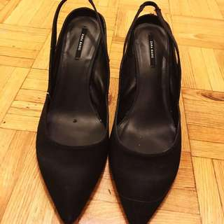 Zara Basic black satin slip heels