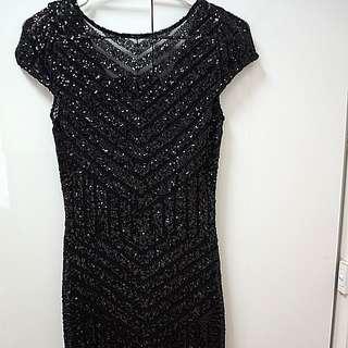 Sequin Langhem Black Evening dress