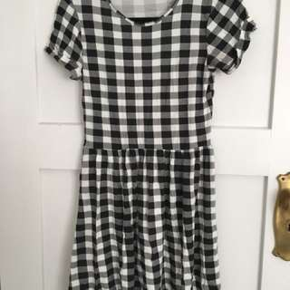 Misguided black check summer dress